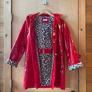 Red Jane Post Rain Coat w/ Detachable Hood